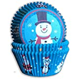 Christmas Baking Cups - 75 Pack - Standard Christmas Muffin Liners - Premium Disposable Christmas Cupcake Liners - Special Holiday Snowman Design