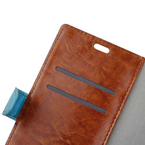 Caja de la carpeta de Lenovo Nota K5, prima doble genuino Calidad de color Diseño caja de la carpeta de cuero con 2 ranuras para tarjetas y la función del soporte conveniente para Lenovo K5 Nota ( Col
