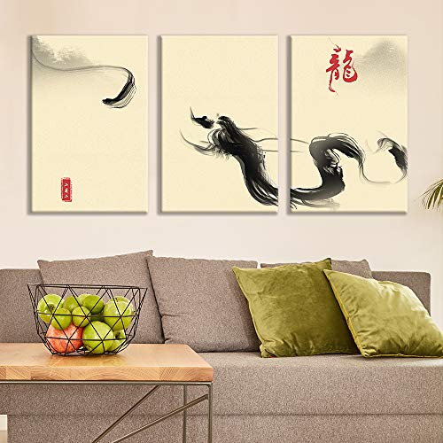 3 Plane Ink Painting Dragon Bedroom Poster x 3 Panels