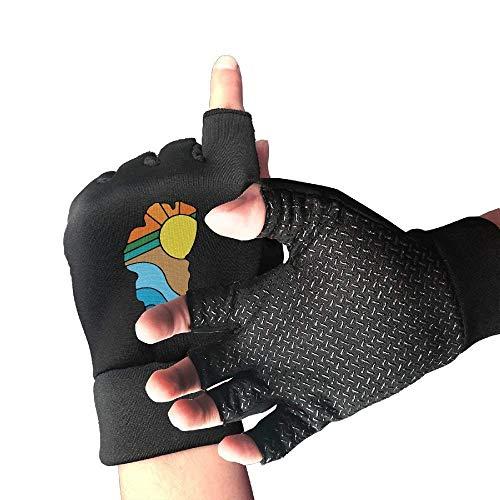 HangWang Mountain Bike Slip-Proof Lake Tahoe Outline 1/2 Finger Short Gloves Outdoor Sports Riding - Glove Short Tahoe Fox