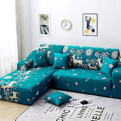 Funda de sofá Home Chaise Longue Brazo Izquierdo Elástico Cubre Sofa Protector para en Forma L Acolchado Silla en Tejido Estampado Sillón ...