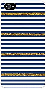 Navy and Gold Glitter Thin Stripes Case for the Apple Iphone 5-5s Universal- Hard White Plastic