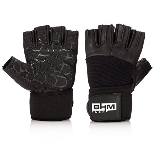 - BHM/Lifestyle New Weight Lifting Gloves with Built-in Wrist Wraps, Full Palm Protection for Fitness, Gym Workout and Cross Training, Suits Men & Women (Pair) (Black, Large)