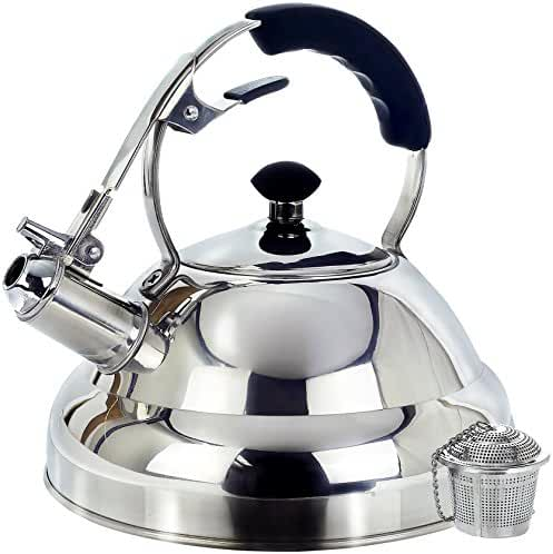Tea Kettle - Surgical Whistling Stove Top Kettle Teapot with Layered Capsule Bottom, Silicone Handle, Mirror Finish, 2.75 Quart - Tea Infuser Strainer Included
