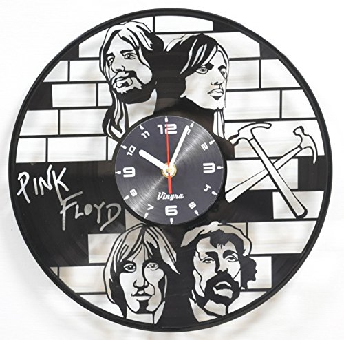 PINK FLOYD Vinyl Wall Clock Rock Music Decor for Living Room Rock and Roll Modern Wall Art Unique Vinyl Record Clock Rock Band Home Decorations Birthday Gift Retro Music Vinyl Art