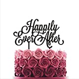 HappyPlywood Cake Topper Happily Ever After Wedding Cake Toppers for Wedding Cake Decorations (Width 6'', Black)