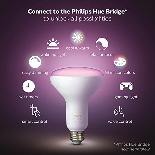 Philips Hue White and Color Ambiance BR30 60W Equivalent Dimmable LED Smart Flood Light, 1 Smart Bulb, Works with Alexa, Apple HomeKit, and Google Assistant  (California residents)