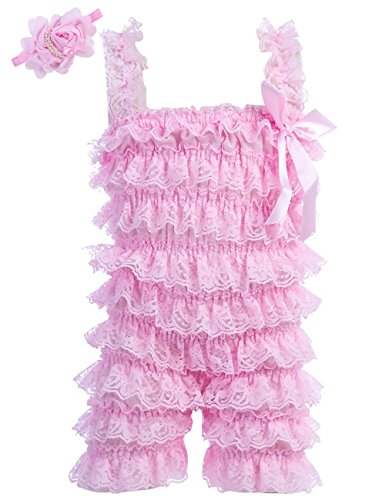 Romper Lace Romper (Zcaynger Baby Girls Bowknot Lace Folds Romper and Headband (M(6-12month), Pink))