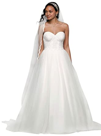 David\'s Bridal Sample: Ball Gown with Lace Corset Bodice Style ...