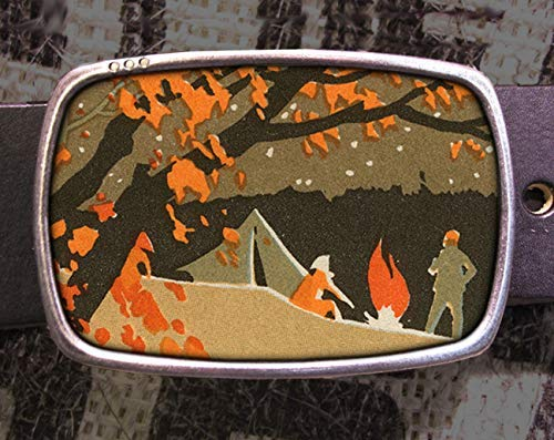 Vintage Fall Camp Fire Belt Buckle