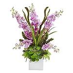 Artificial-Flowers-Delphinium-and-Succulent-Arrangement-No2-Silk-Plant