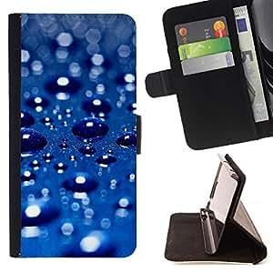 BullDog Case - FOR/Apple Iphone 5C / - / Blue Water Drop 3 /- Monedero de cuero de la PU Llevar cubierta de la caja con el ID Credit Card Slots Flip funda de cuer