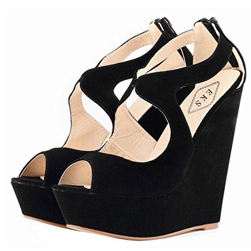 EKS - Zapatos de Tacón Mujer Schwarz-Wildleder