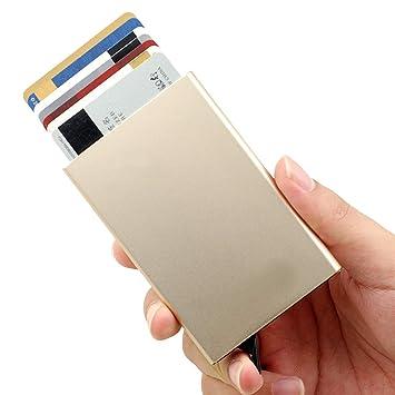 4bce051b4 Tarjetero para Tarjeta de Crédito RFID Bloqueo,Tarjetero de Crédito,Delgado  Cartera de Aluminio Mini Billetera de Metal Sostener 6 Carta para Hombres y  ...