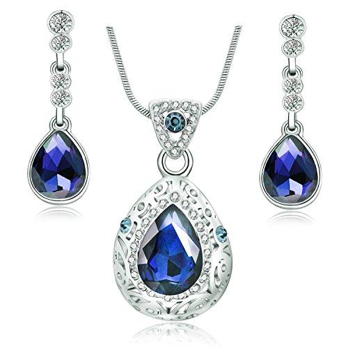 Majesto Dark Blue Teardrop Pendant Necklace Earrings Set For Women Teen Girls 18K White Gold Plated Prime Gift -