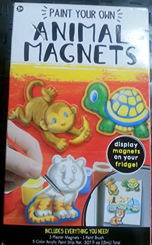 Animal Magnets Paint your Own! Pack Gift Kids Favors 3PC Art Crafts by DPW