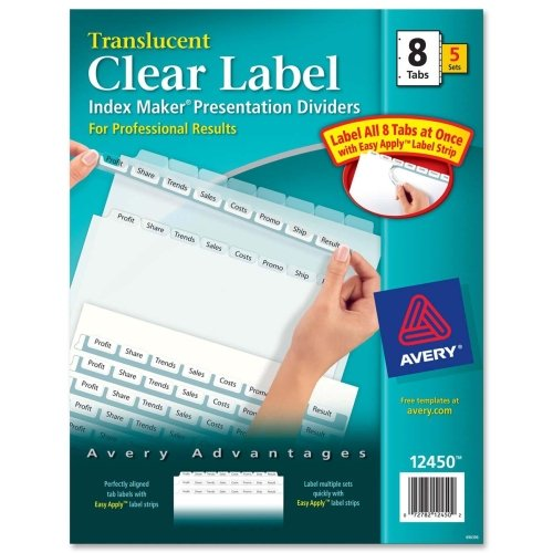 Wholesale CASE of 5 - Avery Index Maker Easy Apply Clear Label Strips-Index Label Dividers, Plastic, 8-Tab, 3HP Punched, Clear (Plastic Tab Punched 5 3hp)
