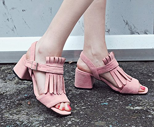 Aisun Womens Unique Fringed Open Toe Buckle Stacked Medium Heels Dress Gladiator Sandals Pink jBoAy9