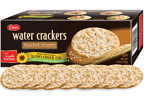 Dare Toasted Sesame Water Crackers - Healthy Entertaining Snacks with 0 grams of Trans Fat and Saturated Fat - 4.4 Ounces (Pack of 6)