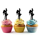 TA0134 Sexy Pole Dance Girl Silhouette Party Wedding Birthday Acrylic Cupcake Toppers Decor 10 pcs