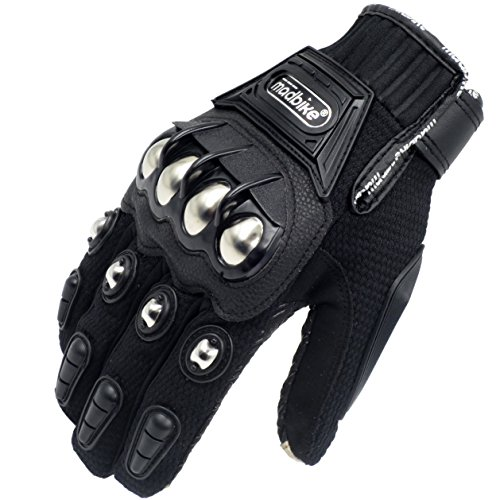 2018 Hot Metal Strong Knuckle Mad Racing Motorbike Motorcycle Armor Gloves Black Touchscreen (Black, XL)