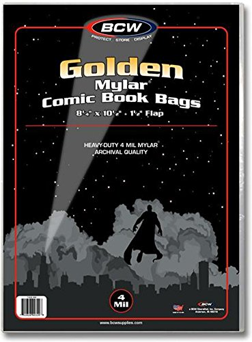 (10) Golden Age Mylar 4 Mil Polyester Comic Book Cover Bags By (Polyester Sheet Protectors)