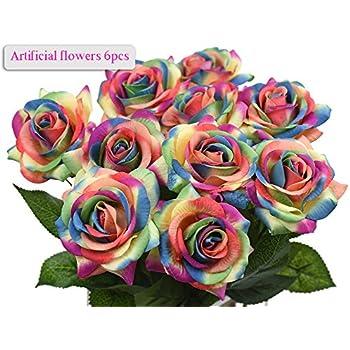 Amazon artificial flowers meiwo 6pcs round roses full bloom artificial flowers meiwo 6pcs round roses full bloom artificial silk real touch flowers for home mightylinksfo