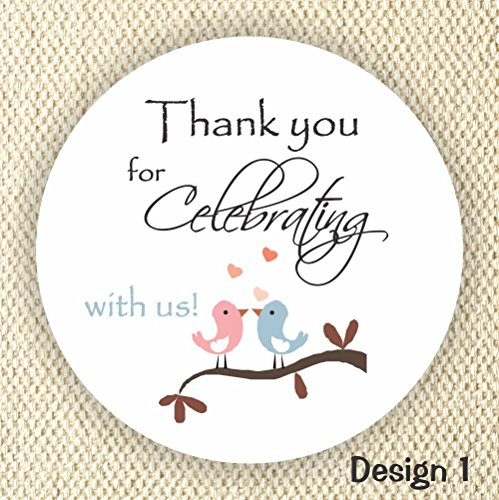 Thank You Stickers - Wedding Stickers - Anniversary Stickers - Favor Stickers - Loving Birds stickers - Set of 40 Labels by Philly Art & Crafts