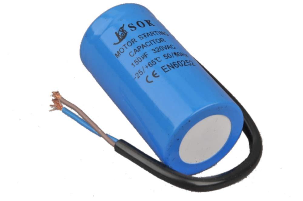 Kondensator Motorkondensator Anlaufkondensator 150 uF 320V Mit Kabel