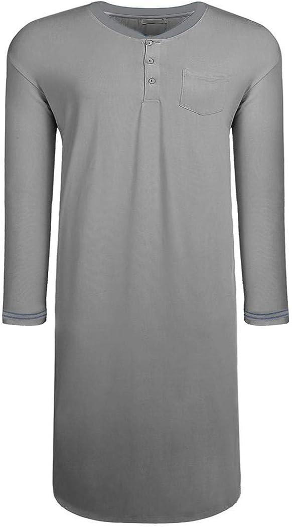 Langle Men's Nightgown Big & Tall Sleep Shirt Long Sleeve Pajama Henly Plus Size Nightshirt M-XXXL