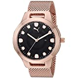PUMA Women's Reset Quartz Watch with Stainless-Steel-Plated Strap, Rose Gold, 18 (Model: P1009)