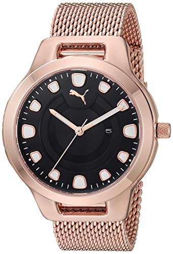 (PUMA Women's Reset Quartz Watch with Stainless-Steel-Plated Strap, Rose Gold, 18 (Model: P1009))