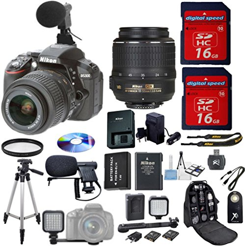 Nikon D5300 DSLR Camera Digideals Video Microphone Bundle wi