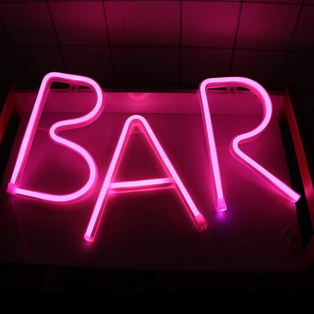 Bar - Cartel iluminado de neón con luz LED y letrero de neón ...