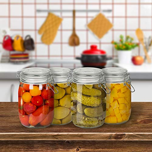 Wide Mouth Mason Jars, OAMCEG 4-Piece 1 L Airtight Glass Preserving Jars with Leak Proof Rubber Gasket and Clip Top Lids, Perfect for Storing Coffee, Sugar, Flour or Sweets - 8 Labels & 1 Chalk Marker by OAMCEG (Image #7)