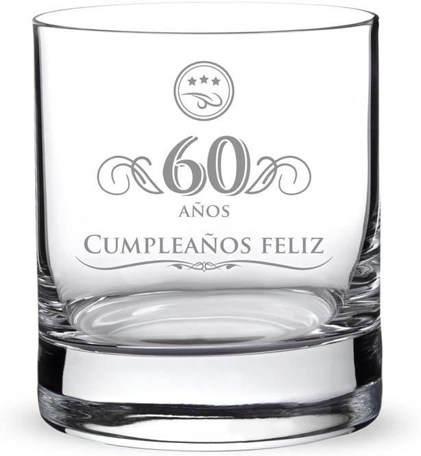 AMAVEL – Vaso de Whisky con Grabado por el 60 Cumpleaños – Regalos para Hermanos – Regalo para Cumpleaños – Obsequios Personalizados – Mejor Whisky – Capacidad: 320 ml