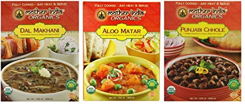 Mother India Organic Heat & Eat Indian Cuisine Side Dish 3 Flavor Variety Bundle: (1) Mother India Dal Makhani, (1) Mother India Aloo Matar, and (1) Mother India Punjabi Chhole, 10.6 Oz Ea (3 Boxes)