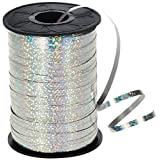 "HIART Holographic Curling Ribbon, 3/16"" by 500 yd, Metallic Silver"
