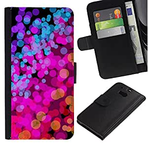 All Phone Most Case / Oferta Especial Cáscara Funda de cuero Monedero Cubierta de proteccion Caso / Wallet Case for HTC One M8 // Lights Pink Purple Vibrant Bright