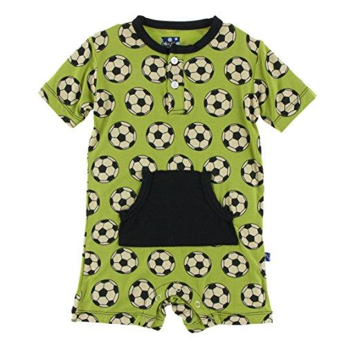 Kickee Pants Little Boys Print Kangaroo Romper - Meadow Soccer, 6-12 Months ()
