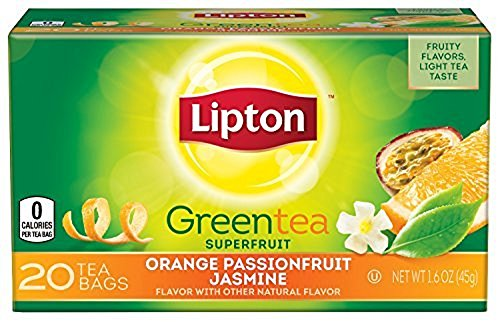3 Boxes 20 Tea Bags - Lipton Green Tea Bags, Orange Passionfruit Jasmine 20 ct, 1.6 Oz Pack of 6