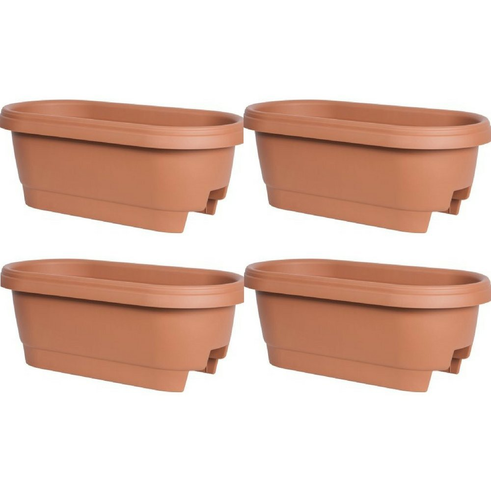 Bloem Deck Rail Planter 24 inch Terra Cotta, Pack of 4