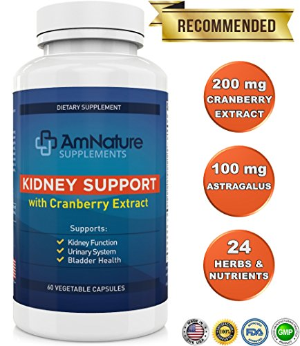 Kidney Support - Superb Blend of Cranberry Extract and 20 Other Herbs and Nutrients Formulated to Help Support the Kidneys and Urinary Tract, 60 Capsules, 2 Month Supply, 100% Satisfaction (Uva Ursi Urinary Tract Infection)