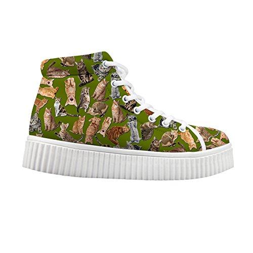 Knuffels Idee Cute Jeans Women Sneakers High Top Schoenen Cats 3