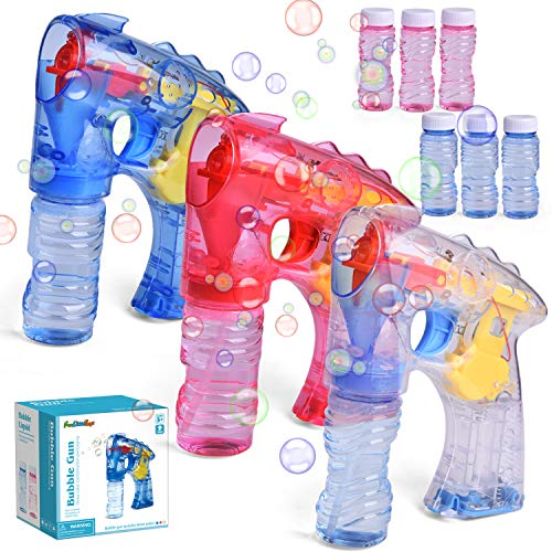 3 Bubble Guns with 6 Bottles Bubble Solution, Bubble Blower for Bubble Blaster Party Favors, Summer Toy, Outdoors Activity, Birthday Gift (Without Sound)