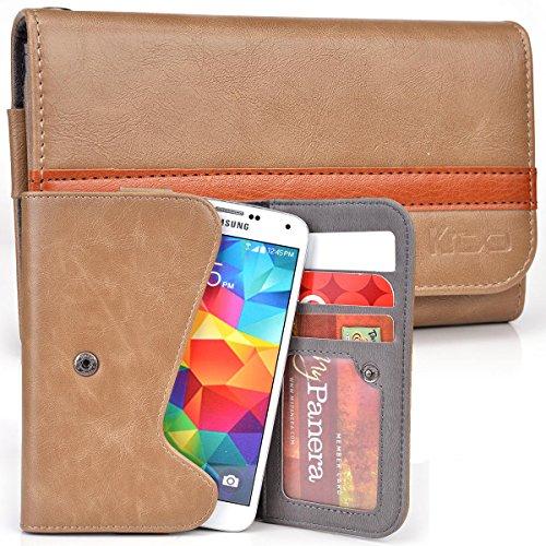 (Plum Sync 4.0b, Axe Plus, Check Plus, Posh Pegasus 4G Case | Caramel Two-Tone Bifold Wallet with Belt Loop)