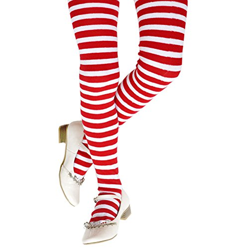 Funny Party Hats Christmas Tights for Kids - Candy Tights Girls - Red and White Striped Tights - Costume Tights - Costume Accessories by (Children's Red & White Striped) -
