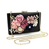 Women Flower Clutches Evening Bags Handbags Wedding Clutch Purse (Black 3)