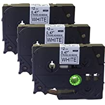 NEOUZA 3PK Compatible For Brother P-Touch Laminated TZe TZ Label Tape Cartridge 12mm x 8m (TZe-S231 Extra Strength Black on White)