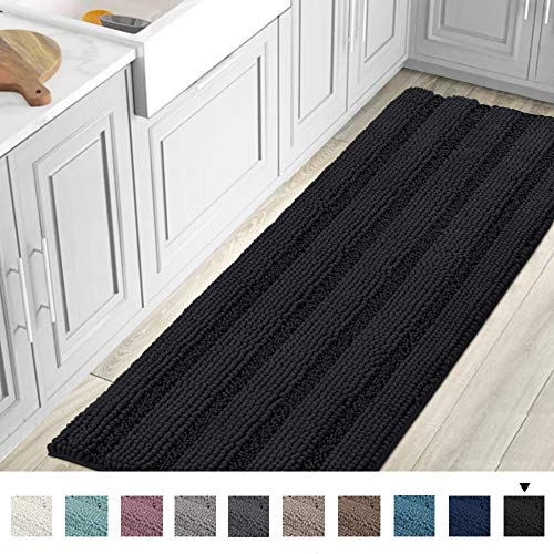 Striped Luxury Chenille Bathroom Rug Mat Runner Oversized 59x20 Inch Extra Soft and Absorbent Shaggy Rugs Dry Extra Long Plush Carpet for Bathroom/Kitchen Machine Washable, Jet Black (Bath Mat Patterned)